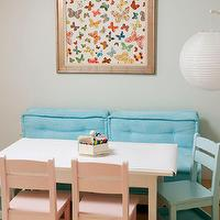 Cute seating area in play room with framed fabric artwork made from F Schumcher Lulu DK ...