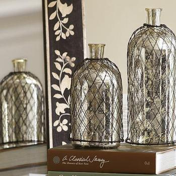 Decor/Accessories - Wire Caged Mercury Glass Bottles | Pottery Barn - mercury glass bottles, wire wrapped mercury glass bottles, wire caged mercury glass bottles,