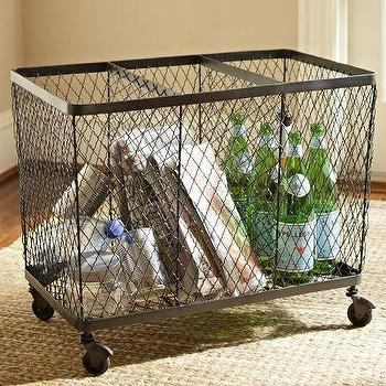 Decor/Accessories - Kendall Recycling Bin | Pottery Barn - recycling bin, industrial wire bin, industrial style wire basket, wire storage bin on castors,