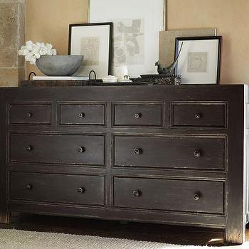 Storage Furniture - Dawson Extra-Wide Dresser | Pottery Barn - dresser, chunky wood dresser, distressed dresser, distressed black dresser,