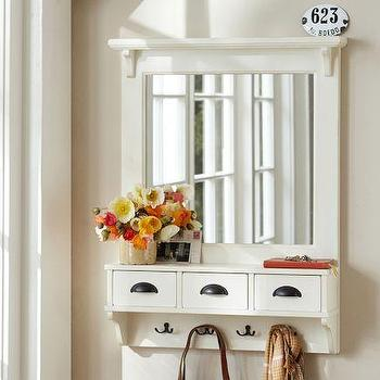 Mirrors - Wall-Mount Entryway Organizer Mirror - White | Pottery Barn - entryway organizer, entryway organizer mirror, entryway mirror with wall hooks,