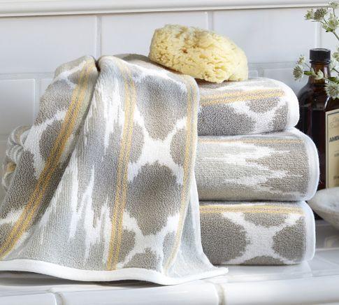 Dylan Ikat Jacquard Bath Towels Pottery Barn