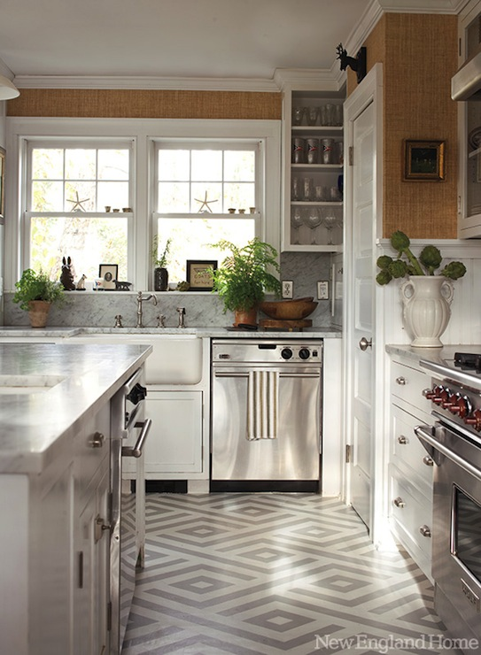 geometric painted floor contemporary kitchen new