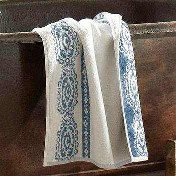 Bath - Lori Paisley Bath Mats | Pottery Barn - paisley bath mat, paisley bath rug, jacquard bath mat, blue and white paisley bath mat,