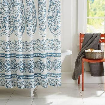 Bath - Lori Paisley Shower Curtain | Pottery Barn - blue and white shower curtain, blue and white paisley shower curtain, block print shower curtain, paisley shower curtain,