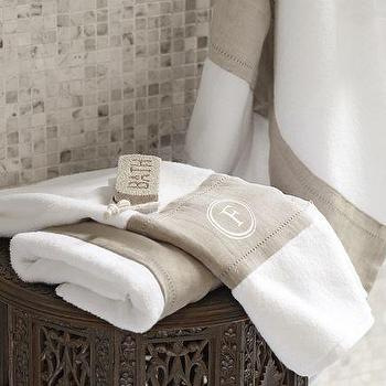 Bath - Linen Banded Bath Towels | Pottery Barn - linen banded bath towels, banded bath towels, flax and white colored bath towels, monogrammed bath towels,