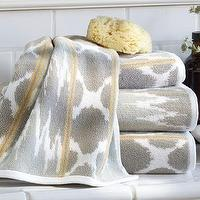 Bath - Dylan Ikat Jacquard Bath Towels | Pottery Barn - ikat bath towels, gray and yellow bath towels, gray ikat bath towels,