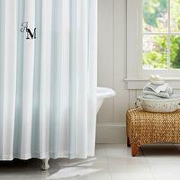 Bath - PB Classic Stripe Shower Curtain | Pottery Barn - blue and white striped shower curtain, striped shower curtain, striped monogrammed shower curtain,