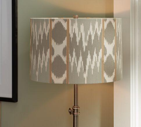 Lighting - Karlie Ikat Embroidered Drum Lamp Shade | Pottery Barn - ikat drum shade, ikat lamp shade, gray ikat drum lamp shade,