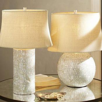 Lighting - Mother-of-Pearl Table Lamp Bases | Pottery Barn - mother-of-pearl lamp base, mother-of-pearl lamp, round mother-of-pearl lamp,