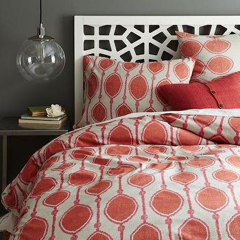 Bedding - Organic Bead Print Ikat Duvet Cover + Shams | west elm - orange ikat bedding, orange ikat duvet cover, modern ikat bedding,