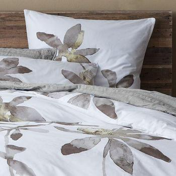 Bedding - Organic Orchid Duvet Cover + Shams | west elm - orchid duvet cover, orchid bedding, orchid bed linens, floral motif bedding,