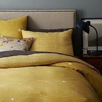 Bedding - Ripple Duvet Cover + Shams | west elm - yellow duvet cover, yellow reversible duvet, yellow bedding with circle motif,