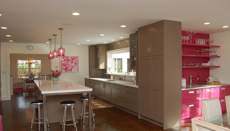 Pink and Brown Kitchen  Contemporary  kitchen  Kitchens by Deane