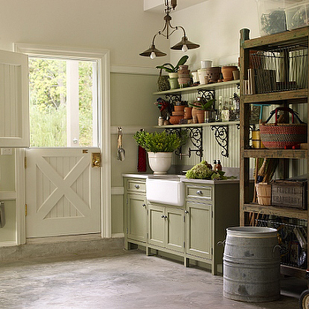 Kitchens by Deane - garages - garage garden rooms, graden rooms, dutch door, beadboard, beadboard doors, beadboard dutch door, beadboard walls, beadboard backspalsh, green beadboard, green beadboard walls, green beadboard backsplash, green cabinets, farmhouse sink, green shelves, iron corbels, salvaged wood shelving, salvaged wood bookcase,