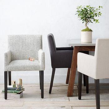 Seating - Porter Upholstered Armchair | west elm - modern dining chair, modern upholstered dining chair, dark gray upholstered dining chair, blue pinstriped dining chair, sand colored modern dining chair,