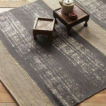 Rugs - Boro Stripe Printed Jute Rug - Soot | west elm - striped jute rug, gray striped jute rug, printed striped jute rug,