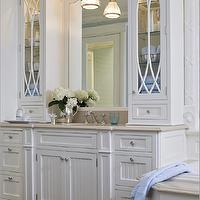 Kitchens by Deane - bathrooms - beadboard cabinets, white beadboard cabinets, beadboard doors, beadboard cabinet doors, crema marfil, crema marfil marble, crema marfil marble counters, crema marfil marble countertops, crema marfil tile bathroom, crema marfil bathroom tiles, single bathroom vanity, white bathroom vanity, white bathroom cabinets, glass front cabinets, arched mirrors, pendant over sink, pendant over bathroom sink, pendant above sink, pendant above bathroom sink, crown molding, drop-in tub, beadboard tub, beadboard bathtub, beadboard drop in tub, crema marfil marble surround, crema marfil tub surround,