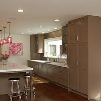 Kitchens by Deane - kitchens: pink and brown design, pink and brown kitchen, brown shaker cabinets, shaker kitchen cabinets, brown shaker kitchen cabinets, floor to ceiling cabinets, white quartz countertops, quartz countertop, brown kitchen island, pink pendant lights, kitchen island pendants, kitchen island lighting, pink glass pendants, vintage barstools, swivel barstools, vintage swivel stools, pink walls, pink butlers pantry, butlers pantry, pink cabinets, pink kitchen cabinets, pink lacquer cabinets, pink cabinets, glossy pink cabinets, stainless steel countertops, modern faucets, prep sink,
