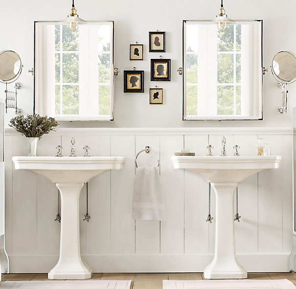 His and her pedestal sinks cottage bathroom Restoration hardware bathroom