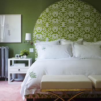 Philip Gorrivan Design - bedrooms - island ikat, green island ikat, island ikat headboard, green island ikat headboard, oversized headboards, white and green headboard, ikat headboard, white and green headboard, green ikat headboard, white and green ikat headboard, green grasscloth, green bedroom, white and green bedroom, white nightstands, white bedside tables, white lacquer tables, reading lights, bedroom reading lights, x base ottomans, antique mirror ottomans, quadrille ikat fabric, China Seas Island Ikat,
