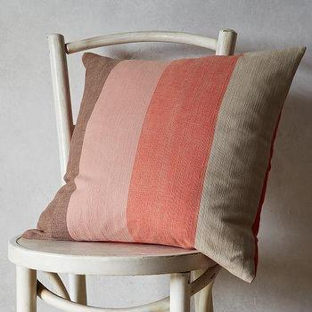 Pillows - Teatime Stripe Pillow Cover | west elm - striped pillow, salmon pink and brown striped pillow, salmon pink striped pillow,