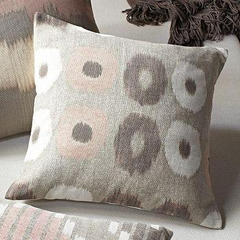 Pillows - Ikat Circles Pillow Cover | west elm - pink and gray pillow, ikat circles pillow, gray and pink circles pillow,
