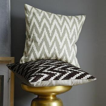 Pillows - Chevron Crewel Pillow Cover | west elm - chevron crewel pillow, gray chevron pillow, black and ivory chevron pillow,