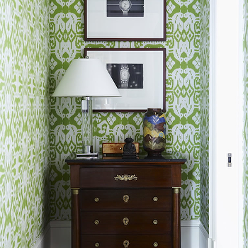 Philip Gorrivan Design - entrances/foyers - green and brown design, green and brown foyer, china seas wallpaper, quadrille wallpaper, bali ii wallpaper, chartreuse on almost white, chartreuse on almost white wallpaper, green ikat wallpaper, green and white ikat wallpaper, antique chest, crystal lamps, black and white photography, quadrille wallpaper, Bali II Chartreuse on Almost White Wallpaper,