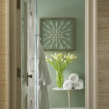 Philip Gorrivan Design - bathrooms - sage green bathroom, sage green walls, raffia wallpaper, marble saarinen side table, shadow box, art in shadow box, gray tiles, gray floor tiles, saarinen table, saarinen side table,