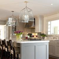 Kitchens by Deane - kitchens - gray kitchen island, gray cabinets, gray kitchen cabinets, white marble countertops, kitchen island sinks, glass lanterns, polished nickel lanterns, kitchen lanterns, island lanterns, kitchen island lanterns, glass and nickel lanterns, shaker kitchen cabinets, kitchen hood, french doors, kitchen french doors, light gray kitchen cabinets,