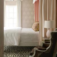 Bear Hill Interiors - bedrooms - pink bedroom, chic pink bedroom, disco ball, bedroom with disco ball, disco ball pendants, disco ball chandelier, pink wallpaper, wallpapered bedroom, graphic wallpaper, pink graphic wallpaper, floor to ceiling curtains, white linen curtains, bed canopy, pink bed canopy, grown up bed canopy, crisp white bedding, soft white bedding, pink and yellow, pink and yellow pillows, pink lamp, murano glass lamp, pink murano glass lamp, zebra rug, rug under bed, patent leather chair, black patent leather chair, french chair, patent leather french chair, french wingback chair, french leather chair,
