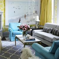 Philip Gorrivan Design - living rooms - the vase wallpaper, yellow the vase wallpaper, david hicks wallpaper, david hicks the vase wallpaper, canary yellow, yellow cornice box, yellow silk curtains, yellow curtains, yellow silk drapes, yellow silk window panels, yellow window panels, dove gray sofa, rolled arm sofa, gray rolled arm sofa, faux fur pillows, gray faux fur pillows, turquoise blue chairs, turquoise chairs, rolled-arm chairs, turquoise rolled arm chairs, art deco coffee tables, mirrored coffee tables, art deco mirrored coffee tables, trellis rug, gray trellis rug, blue trellis rug, gray blue trellis rug, yellow and gray living room, yellow and gray room, gray and yellow room, gray and yellow living room, yellow drapes,