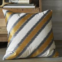 Pillows - Embroidered Diagonal Stripe Pillow Cover | west elm - embroidered diagonal stripe pillow, metallic striped pillow, gold and ivory striped pillow,