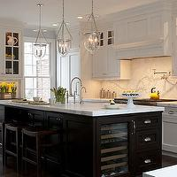 Kitchens by Deane - kitchens - two-tone kitchen, two-tone kitchen cabinets, two-tone cabinets, white perimeter cabinets, perimeter cabinets, white perimeter kitchen cabinets, perimeter kitchen cabinets, calcutta marble countertops, calcutta marble backsplash, wood kitchen hood, espresso cabinets, espresso kitchen island, calcutta marble island, calcutta marble kitchen island, kitchen island sink, island sink, kitchen island wine cooler, built-in wine cooler, island wine cooler, espresso counter stools, glass lanterns, island lanterns, kitchen island lanterns, kitchen island lighting, wood refrigerator, wood freezers, blue walls, wine cooler in island, wine cooler in kitchen island,