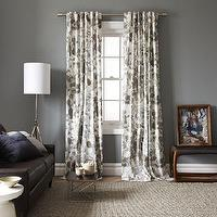 Window Treatments - Cotton Canvas Printed Window Panel-Woodland | west elm - gray and ivory drapes, leaf print, woodland print, gray and ivory curtains,