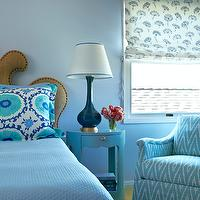 Massucco Warner Miller - bedrooms - blue bedroom, blue coverlet, suzani pillow, blue suzani pillow, turquoise suzani pillow, blue bedding, blue bed linens, blue upholstered chair, blue chair, zig zag pattern, blue walls, sky blue walls, teal blue lamp, gold base, posy of flowers, curvy headboard, caramel colored headboard, nailhead trim, curvaceous headboard, window blinds, floral blinds, ivory and blue blinds, Brigitte 1-Drawer Side Table, zigzag chair, chevron chair, blue chevron chair, linen headboard, nailhead headboard, nailhead trim headboard, bungalow 5 tables, bungalow 5 nightstand, teal lamps, teal table lamp, studded headboard, burlap headboard, turquoise bedroom, turquoise blue bedroom, Bungalow 5 Brigitte 1-Drawer Side Table,