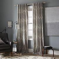 Window Treatments - Cotton Canvas Printed Window Panel-Ikat Chevron | west elm - gray chevron drapes, gray ikat drapes, gray ikat curtains, gray chevron curtains, ikat chevron curtains, ikat chevron drapes,