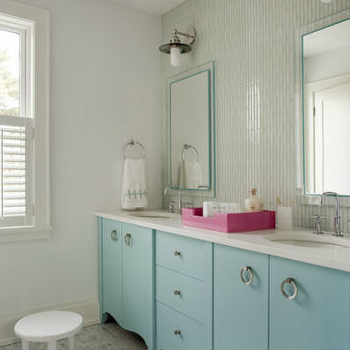 Liz Caan Interiors - bathrooms - turquoise blue bathroom, turquoise blue girls bathroom, turquoise girls bathroom, turquoise bathroom, turquoise bathroom vanity, double bathroom vanity, turquoise blue bathroom vanity, turquoise double bathroom vanity, contemporary bathroom vanity, girls bathroom vanity, girls double bathroom vanity, white quartz countertop, scalloped bathroom vanity, inset medicine cabinets, vintage sconces, bathroom sconces, girls sconces, accent walls, bathroom accent walls, tiled accent wall, mosaic tile accent wall, mosaic tile bathroom accent walls, glass mosaic tiles, bathroom stool, white stool, bathroom stools, marble mosaic tiles, marble mosaic floor tiles, marble mosaic bathroom floor, girl bathroom, girls bathroom, girl bathroom design, girls bathroom design,