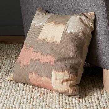 Pillows - Ikat Squares Pillow Cover | west elm - taupe and pink pillow, taupe and pink ikat pillow, ikat squares pillow,