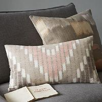 Pillows - Chevron Stripe Ikat Pillow Cover | west elm - chevron stripe ikat pillow, pink and griege pillow, chevron ikat pillow,