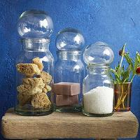 Bath - Bubble Canisters | west elm - bubble canisters, glass canisters, bathroom canisters, glass bathroom canisters,