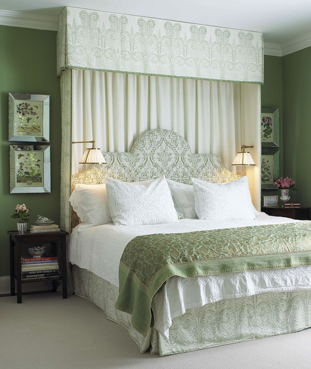 White and green bedroom traditional bedroom farrow for Bedroom designs green and white
