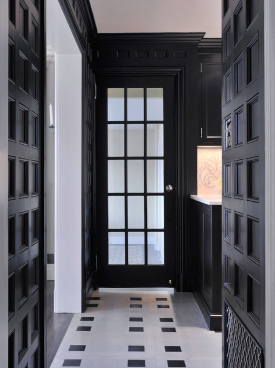 Dyfari Interiors - entrances/foyers - black and white hallway, black and white entryway, whtie floor tile, black and white floor tile, custom millwork, millwork, recessed square paneled walls, paneled walls, black paneled walls, black French door, black interior French door, interior French door, black and white color scheme, glamorous entryway, glamorous hallway, black and white floor, black and white tile floor, black and white marble floor,
