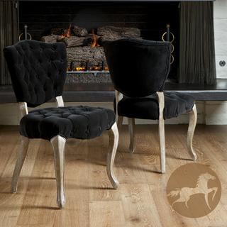 Tufted black fabric dining chairs set of 2 for Black fabric dining room chairs