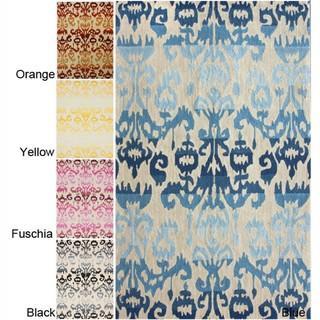 Rugs - Handmade Luna Moden Ikat Rug (7'6 x 9'6) | Overstock.com - blue ikat rug, pink ikat rug, yellow ikat rug, orange ikat rug, black ikat rug, ikat rug,