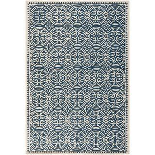 Rugs - Moroccan Navy Blue Wool Rug | Overstock.com - moroccan rug, moroccan navy blue rug, moroccan navy blue and ivory rug,