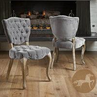 Seating - Tufted Grey Fabric Dining Chairs (Set of 2) | Overstock.com - tufted gray dining chair, gray dining chair, tufted dining chair,