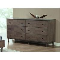 Storage Furniture - Vilas Light Charcoal 6-drawer Dresser | Overstock.com - modern gray dresser, modern dresser, modern light charcoal dresser,