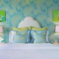 Dyfari Interiors - bedrooms - fresh modern bedroom, Cole & Son Rajapur Wallpaper, seashell art, seashell canvas, glass coated seashell prints, glass coated seashell canvas, dramatic arched headboard, nailhead trim, lime green euro plllows, turquoise bordered pillows, turquoise and green striped pillows, crisp white coverlet, modern white nightstands, glossy turquoise lamps, turquoise wallpaper, green paisley print wallpaper, large scale paisley wallpaper, upholstered headboard, white bedding, paisley wallpaper, blue and green wallpaper, blue and green paisley wallpaper, turquoise and green girls room, turquoise and blue teen room, turquoise and blue teen girls room, turquoise and green girls bedroom, turquoise and blue teen bedroom, turquoise and blue teen girls bedroom, Cole & Son Rajapur Wallpaper,